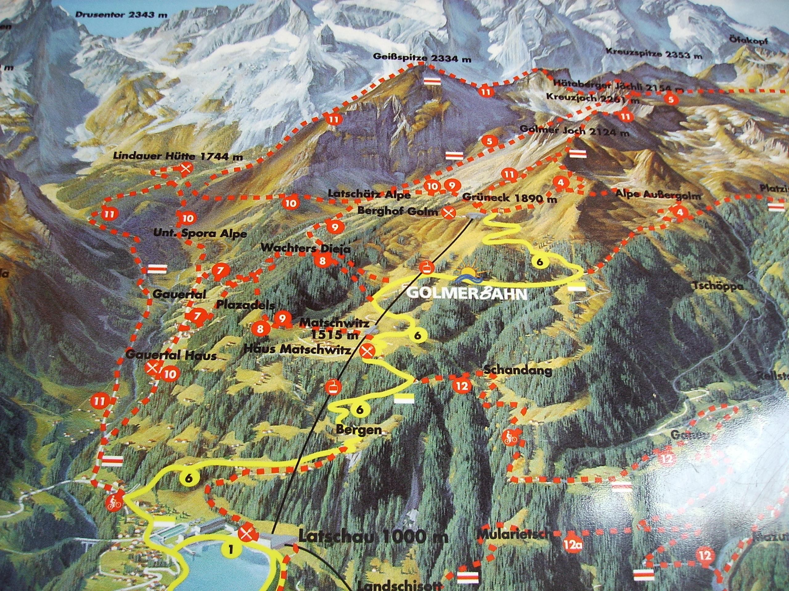 Klettersteig Map : Klettersteige im montafon